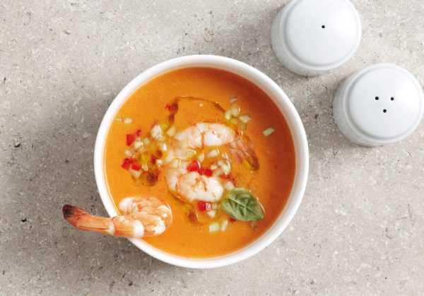 Gazpacho with steamed Tiger Prawns